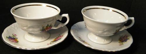 Royal Kent Poland RKT6 Tea Cup Saucer Set Pink Roses Floral 2 Excellent