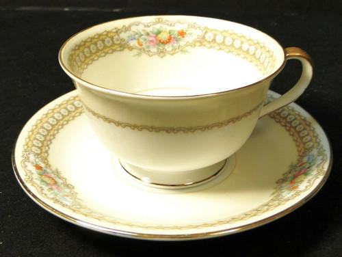 Noritake Rodista Tea Cup Saucer Set 590 Floral Band Yellow Excellent