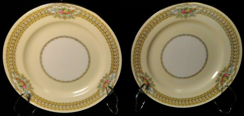 """Noritake Rodista Bread Plates 590 6 1/2"""" Floral Band Yellow Set of 2 Excellent"""