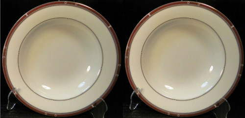 """Syracuse China Barrymore Soup Bowls 9"""" Rimmed Bone China Set of 2 Excellent"""
