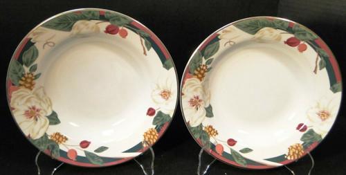 "Tienshan Magnolia Soup Bowls 8 1/4"" Flowers Red White Salad Set of 2 Excellent"