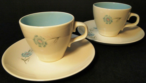 Taylor Smith Taylor Boutonniere Cup Saucer Sets Mid Century 2 Excellent