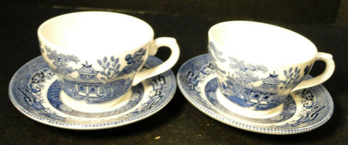 Broadhurst Blue Willow Tea Cup Saucer Sets Staffordshire England 2 Excellent