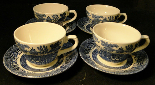 Broadhurst Blue Willow Tea Cup Saucer Sets Staffordshire England 4 Excellent