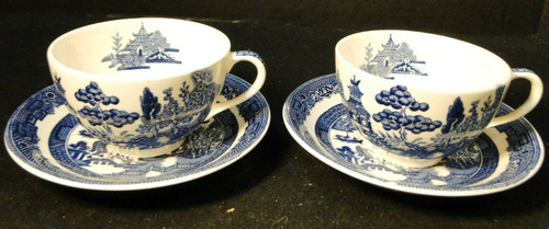 Johnson Brothers Blue Willow Tea Cup Saucer Sets England No Band 2 Excellent