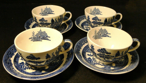 Johnson Brothers Blue Willow Tea Cup Saucer Sets England No Band 4 Excellent
