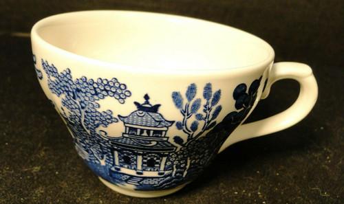 Churchill Blue Willow Flat Tea Cup England Excellent