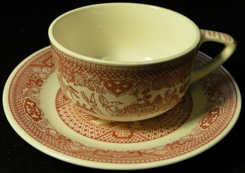 Royal China Pink Willow Ware Tea Cup Saucer Set Red Excellent