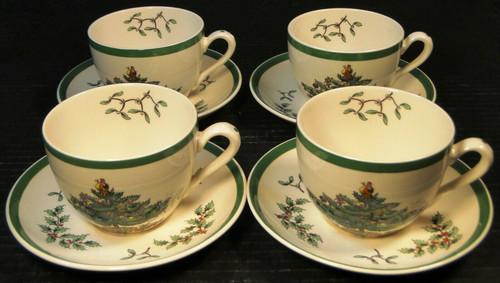 Spode Christmas Tree Tea Cup Saucer Sets S3324 Vintage England 4 Excellent