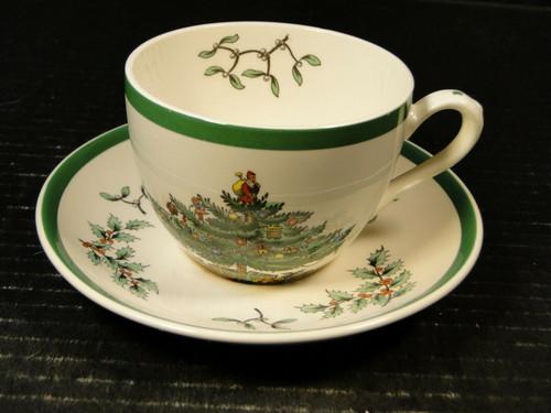 Spode Christmas Tree Tea Cup Saucer Set S3324 Vintage England Excellent