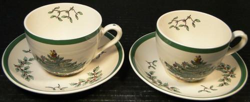Spode Christmas Tree Tea Cup Saucer Sets S3324 Vintage England 2 Excellent