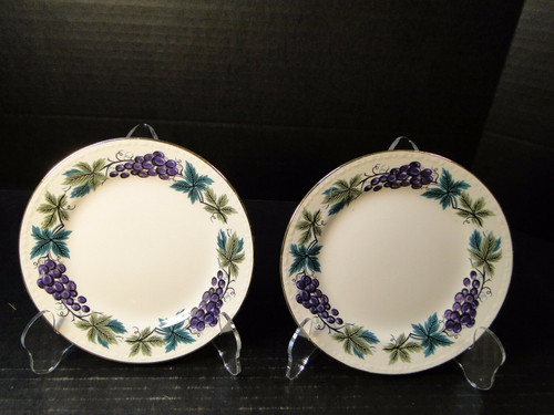 "Homer Laughlin Eggshell Georgian Grapes Leaves Bread Plates 6 1/4"" 2 