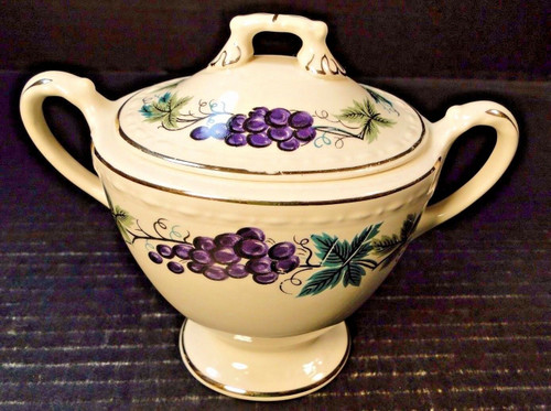Homer Laughlin Eggshell Georgian Grapes Leaves Sugar Bowl with Lid HLC2376 | DR Vintage Dinnerware Replacements