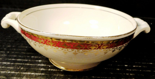 Homer Laughlin Monarch Handled Cream Soup Bowl Eggshell Georgian | DR Vintage Dinnerware Replacements