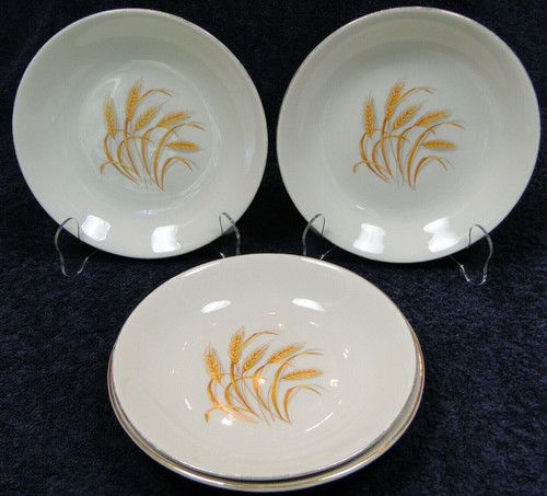 "Homer Laughlin Golden Wheat Soup Bowls 7 1/2"" Salad Pasta Set of 4 