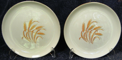 "Homer Laughlin Golden Wheat Dinner Plates 9 1/4"" Set of 2 