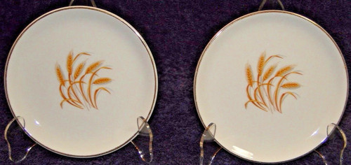 "Homer Laughlin Golden Wheat Salad Plates 7 1/4"" Set of 2 
