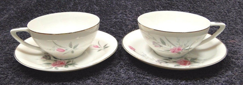 Fine China of Japan Golden Rose Tea Cup Saucer Sets Set of 2 | DR Vintage Dinnerware and Replacements