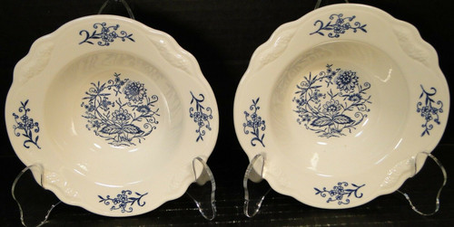"Homer Laughlin Virginia Rose Dresden Blue Berry Fruit Bowls 6"" Set of 2 
