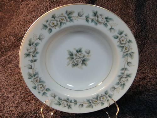 """Noritake Laurette Rimmed Soup Bowl 8"""" Gold Trim 5047 