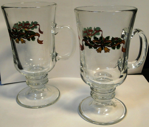 Johnson Brothers Victorian Christmas Irish Coffee Mugs Glasses Set 2 | DR Vintage Dinnerware and Replacements