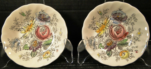"Johnson Brothers Sheraton Berry Bowls 5 1/8"" Floral England Set of 2 