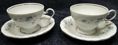 Johann Haviland Bavaria Blue Garland Footed Tea Cup Saucer Sets 2 | DR Vintage Dinnerware Replacements
