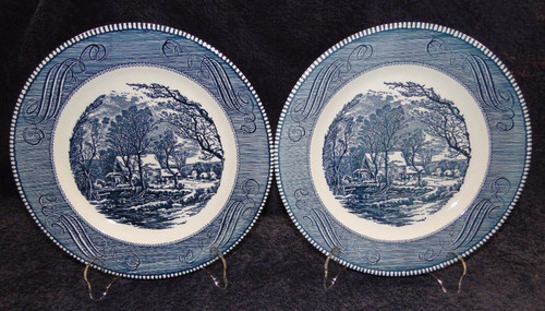 "Currier Ives Royal China Old Grist Mill Dinner Plates 10"" Set of 2 