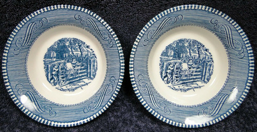 Royal China Currier Ives Blue White Berry Bowls Fruit Set of 2 | DR Vintage Dinnerware Replacements