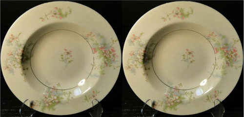 """Theodore Haviland NY Apple Blossom Soup Bowls 7 7/8"""" Set of 2   DR Vintage Dinnerware Replacements"""