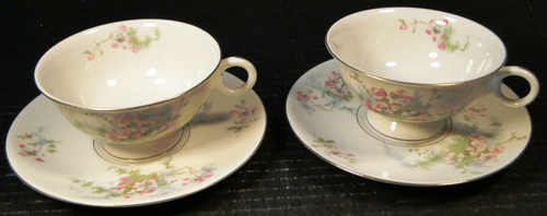 Theodore Haviland NY Apple Blossom Tea Cup Saucer Sets 2 | DR Vintage Dinnerware Replacements