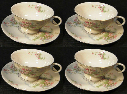Theodore Haviland NY Apple Blossom Tea Cup Saucer Sets 4 | DR Vintage Dinnerware Replacements