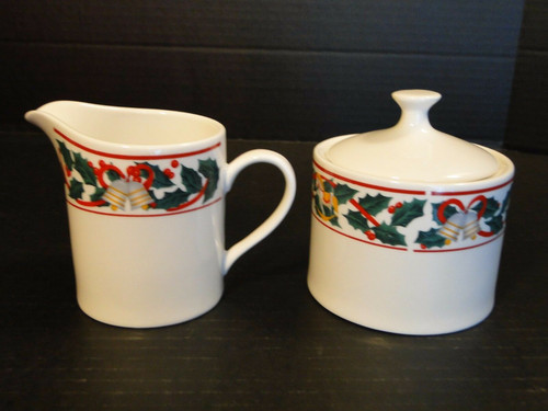 Sango Christmas Morning Creamer Sugar with Lid Set 8846 | DR Vintage Dinnerware Replacements