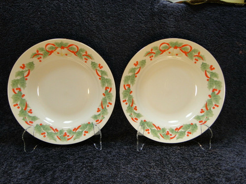 "Sango Noel 8401 Soup Bowls 7 7/8"" Salad Pasta Set of 2 