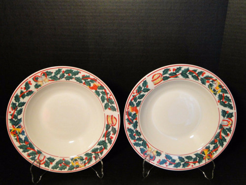 "Sango Christmas Morning Soup Bowls Salad Pasta 8 1/2"" 8846 Set of 2 