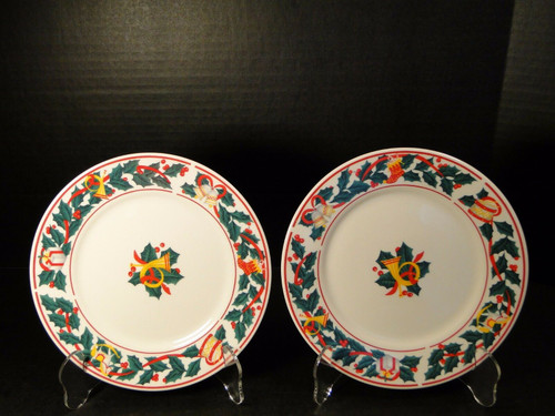 "Sango Christmas Morning Salad Plates 7 1/2"" 8846 Set of 2 