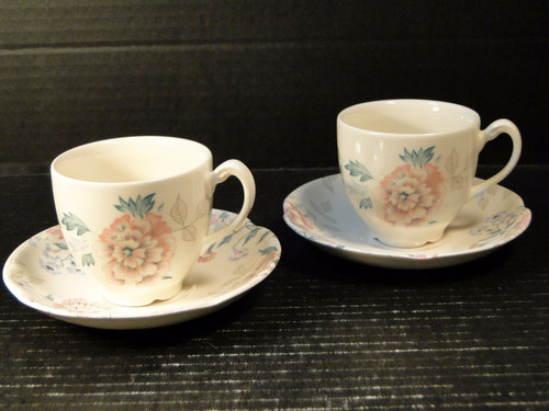 Johnson Brothers Lynton Pink Carnation Tea Cup Saucer Sets | DR Vintage Dinnerware Replacements