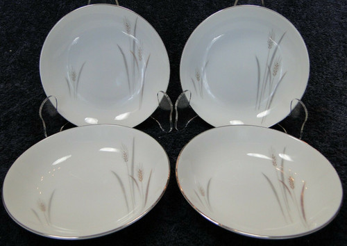 "Fine China of Japan Platinum Wheat Berry Bowls 5 1/2"" Fruit Set of 4 