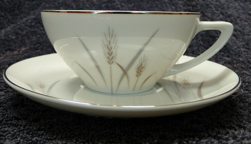 Fine China of Japan Platinum Wheat Tea Cup Saucer Set | DR Vintage Dinnerware Replacements