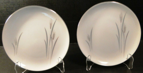"Fine China of Japan Platinum Wheat Salad Plates 7 5/8"" Set of 2 