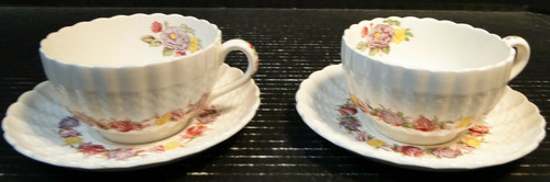 Copeland Spode Rose Briar Footed Tea Cup Saucer Sets Vintage England 2 | DR Vintage Dinnerware Replacements