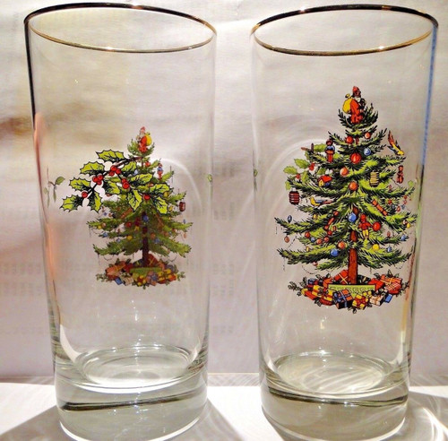 "Spode Christmas Tree Glasses HighBall 12 Oz 6 1/4"" Tall Set of 2 