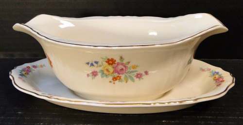 Syracuse China Rosemoor Federal Shape Gravy Boat Attached UnderPlate | DR Vintage Dinnerware Replacements