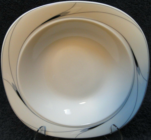 "Mikasa Caviar Soup Bowl 8 1/2"" L5806 Square Black Gray Salad | DR Vintage Dinnerware Replacements"