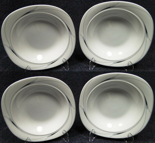 "Mikasa Caviar Soup Bowls 8 1/2"" L5806 Square Black Gray Salad Set of 4 