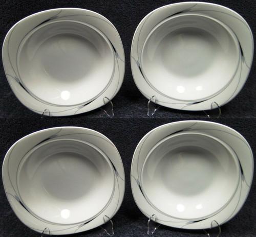 "Mikasa Caviar Soup Bowls 8 1/2"" L5806 Square Black Gray Salad Set of 4 | DR Vintage Dinnerware Replacements"