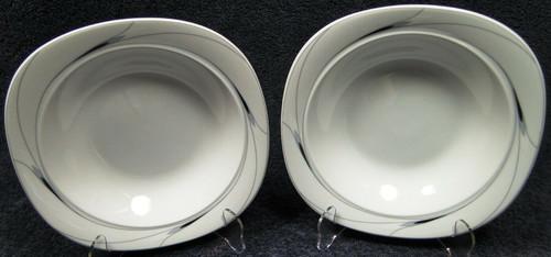"Mikasa Caviar Soup Bowls 8 1/2"" L5806 Square Black Gray Salad Set of 2 | DR Vintage Dinnerware Replacements"