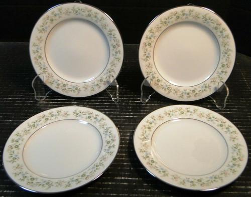 "Noritake Savannah Bread Plates 6 1/4"" 2031 Green White Floral Set of 4 | DR Vintage Dinnerware Replacements"
