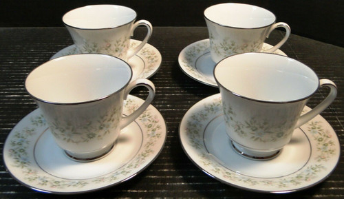 Noritake Savannah Tea Cup Saucer Sets 2031 Green White Floral 4 | DR Vintage Dinnerware Replacements