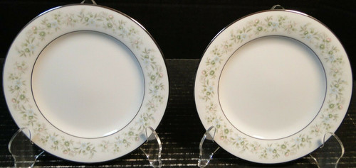 "Noritake Savannah Bread Plates 6 1/4"" 2031 Green White Floral Set of 2 